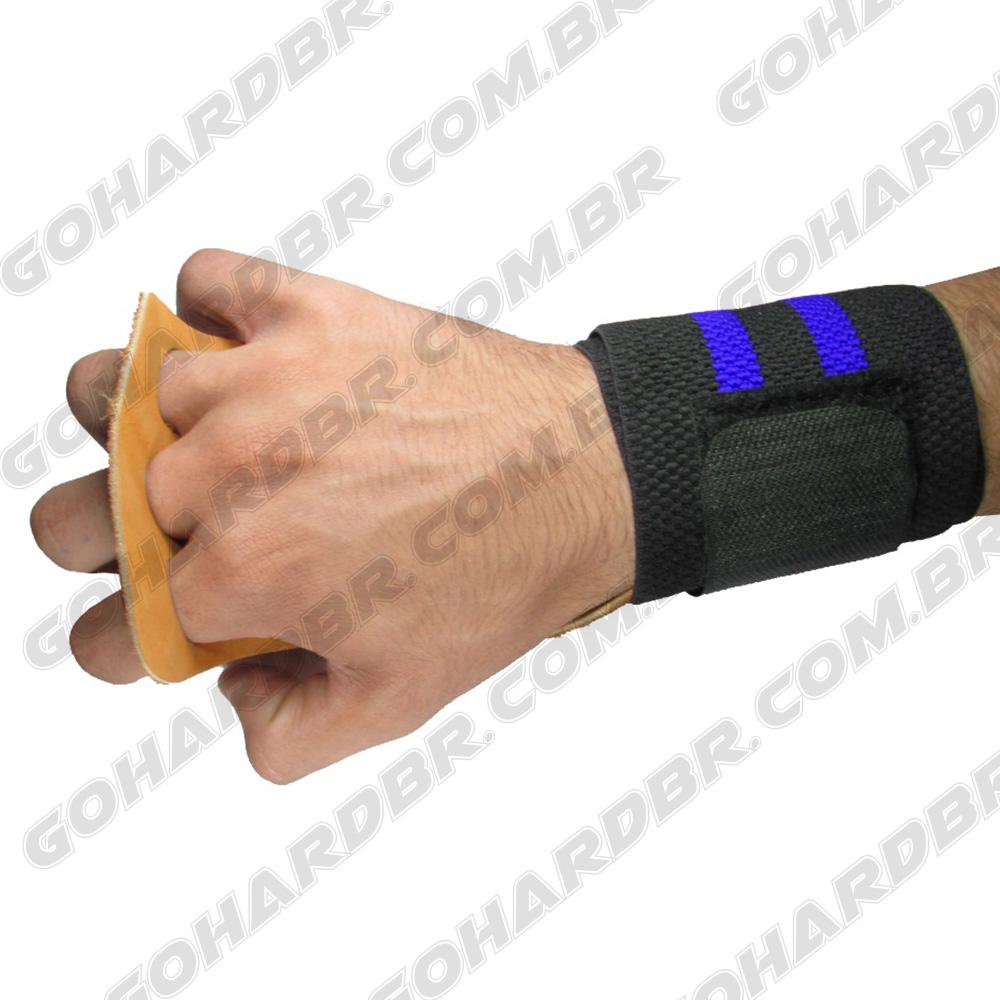 Luva Grip com Munhequeira 3 Furos Preto F/ Azul Couro Marrom.