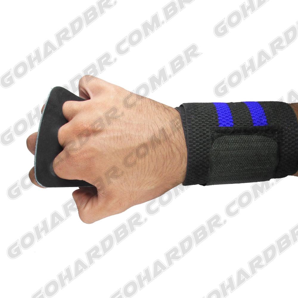 Luva Grip com Munhequeira 3 Furos Preto F/ Azul Couro Preto.