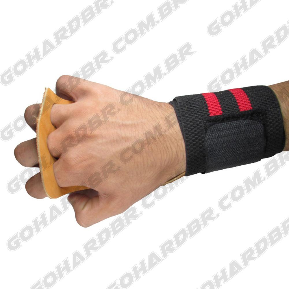 Luva Grip com Munhequeira 3 Furos Preto F/ Vermelho Couro Marrom.