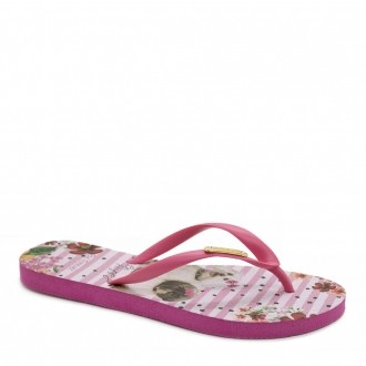 Chinelo Feminino Be Forever Friends Happy 11702B Rosa