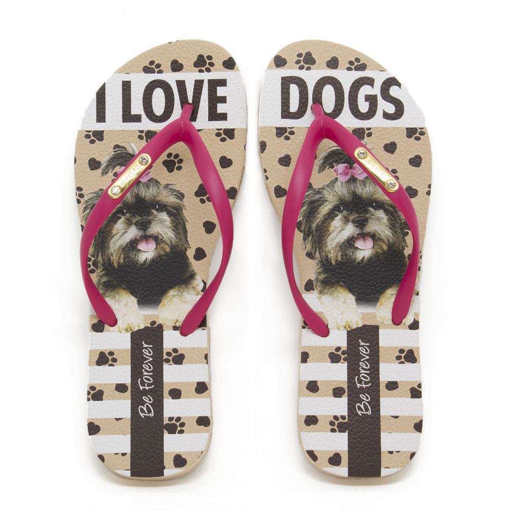 Chinelo Be Forever By Rafitthy 01702A Lhasa Pink Love Dogs
