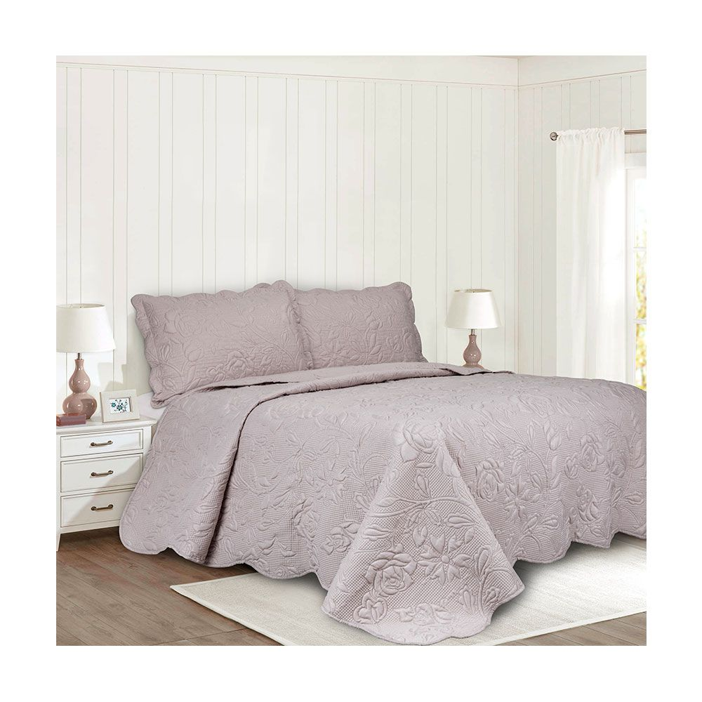 Colcha King Patchwork Camesa Ilusion Rose