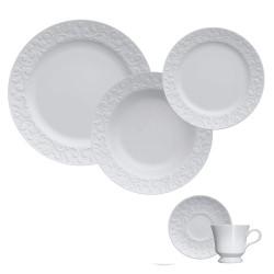 Aparelho de Jantar e Chá 30 Peças de Porcelana - 6 Pratos Raso, 6 Pratos Fundo, 6 Pratos de Sobremesa, 6 Xícaras de Chá 240Ml e 6 Pires de Chá Tassel Branco