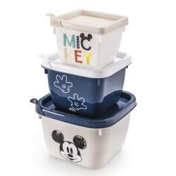 Conjunto de Potes 3 Peças de Polipropileno Quadrado Conect Mickey Baby