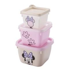 Conjunto de Potes 3 Peças de Polipropileno Quadrado Conect Minnie Baby