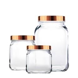 Conjunto de Potes 3 Peças de Vidro com Tampa 900Ml 1,15L 2,2L Style Bronze