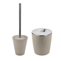 Conjunto para Banheiro 2 Peças de Plástico 1 Lixeira Bege Vitra 1 Suporte com Escova Sanitária Vitra Belly