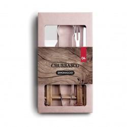 Conjunto para Churrasco 4 Peças de Aço Inox com Cabo de Madeira 1 Faca 1 Garfo 1 Pegador 1 Espátula