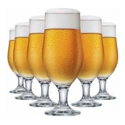 Jogo de Taças 6 Peças para Cerveja de Vidro 330Ml Berlin Happy Hour