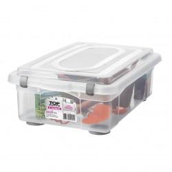 Caixa Organizadora 28,2L de Plástico com Grampos de Fechamento Sanremo Transparente