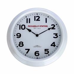Relógio para Parede de Plástico Branco Piccadilly Station 36Cm