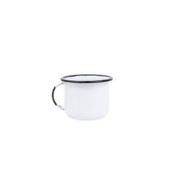 Xícara 180Ml para Chá de Aço Carbono Esmaltada Branca
