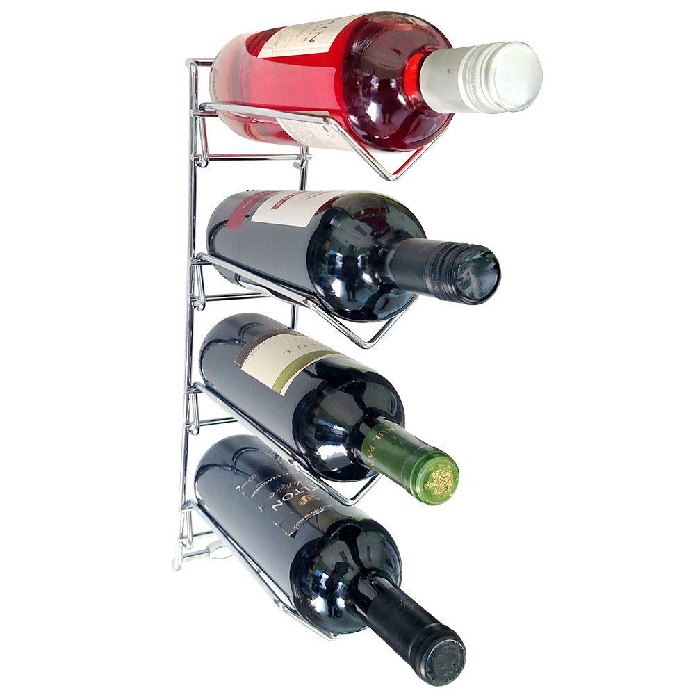 Adega Aramada Cromada para Parede Suporte para 4 Garrafas de Vinho