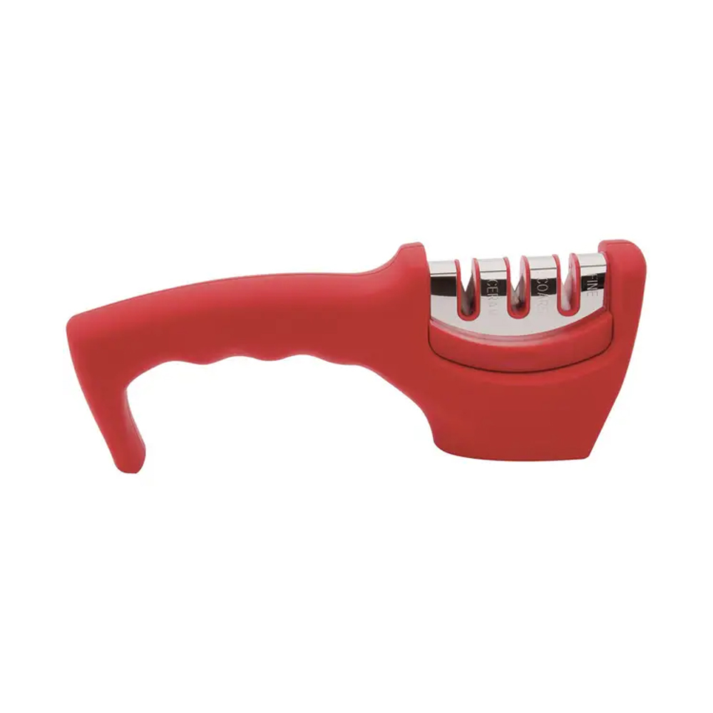 Amolador Afiador para Faca de Aço Inox 20,5Cm Triplo Mundial Vermelho