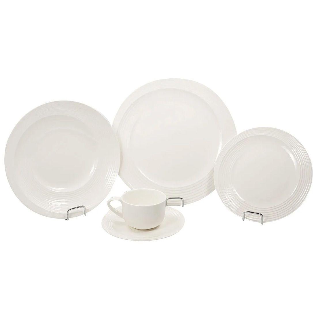 Aparelho de Jantar 20 Peças de Porcelana - 4 Pratos Mesa, 4 Pratos Fundo, 4 Pratos de Sobremesa, 4 Xícaras de Chá 200Ml, 4 Pires de Chá Branco Wow