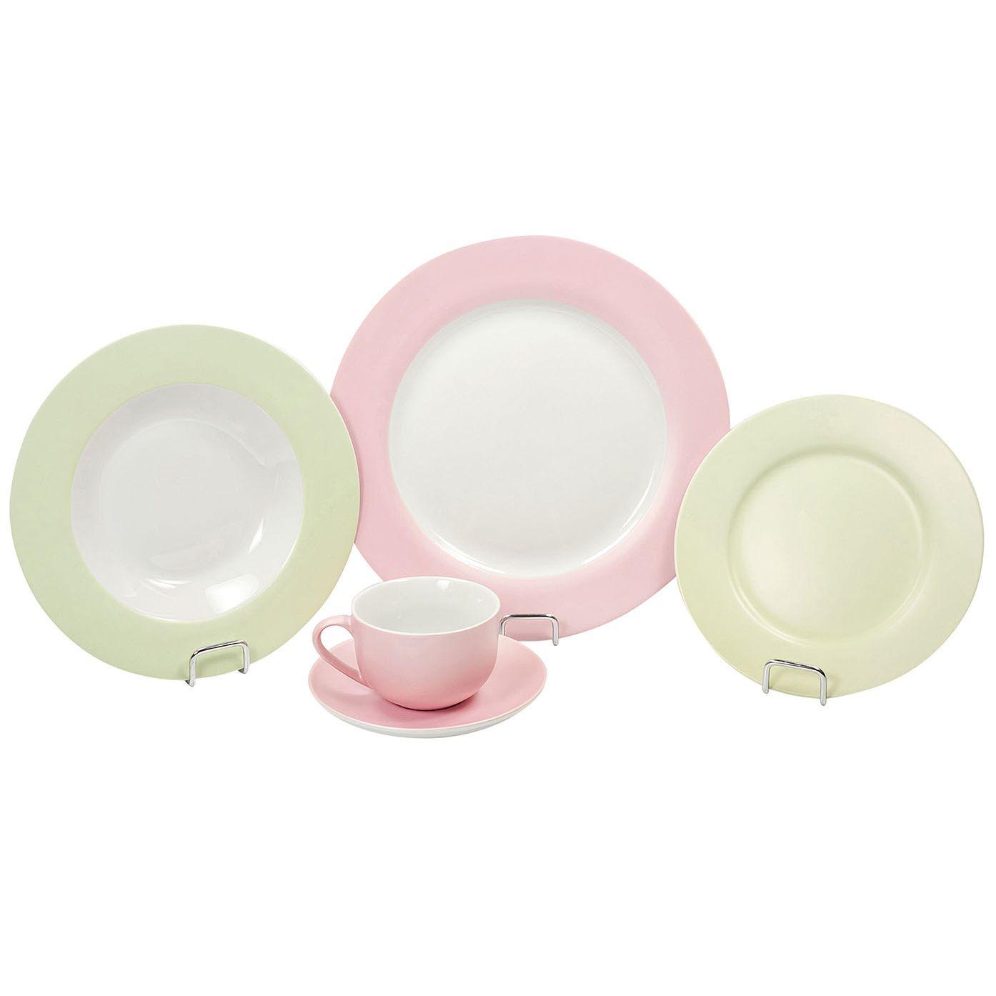 Aparelho de Jantar 20 Peças de Porcelana - 4 Pratos Mesa, 4 Pratos Fundo , 4 Pratos de Sobremesa, 4 Xícaras de Chá 200Ml , 4 Pires de Chá, Branco, Rosa e Verde Wow
