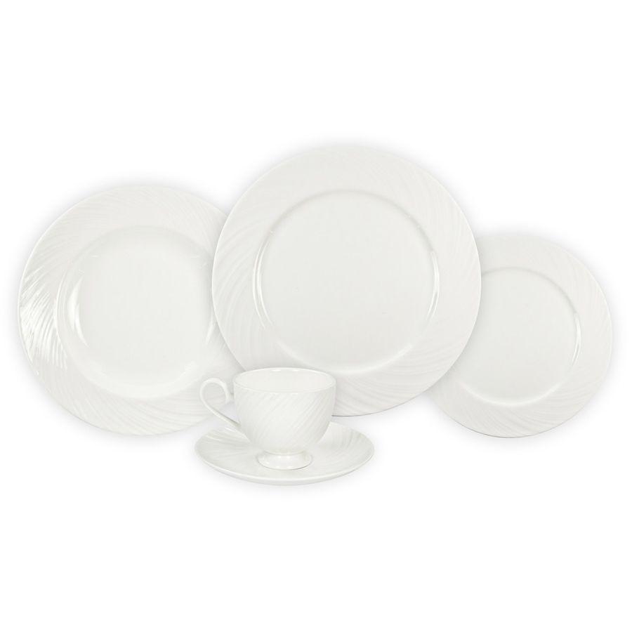 Aparelho de Jantar 20 Peças de Porcelana - 4 Pratos Raso, 4 Pratos Fundo, 4 Pratos de Sobremesa e 4 Xícaras com Píres, Branco Wow