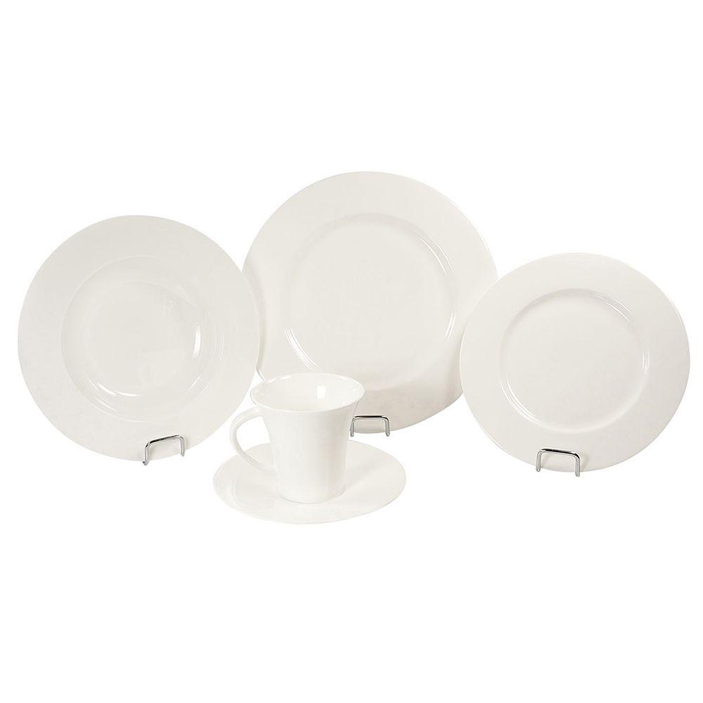 Aparelho de Jantar 20 Peças de Porcelana - 4 Pratos Fundo, 4 Pratos Raso, 4 Pratos de Sobremesa e 4 Xícaras com Píres, Branco Wow