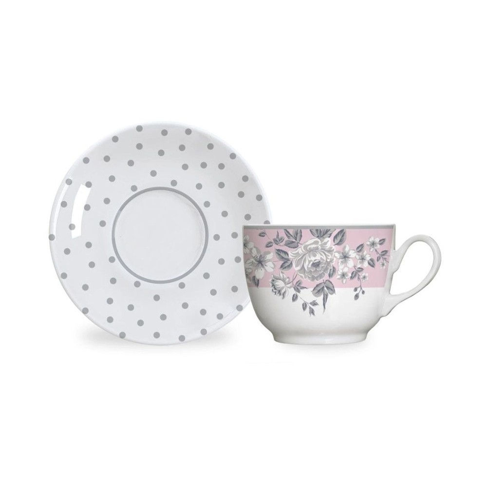 Aparelho de Jantar e Chá 30 Peças de Porcelana - 6 Pratos Raso, 6 Pratos Fundo, 6 Pratos de Sobremesa, 6 Xícaras de Chá 240Ml e 6 Pires de Chá Paris