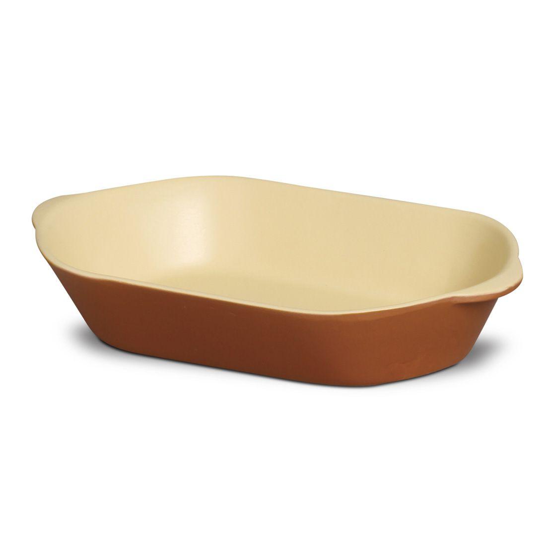 Forma Assadeira 330Ml para Micro-Ondas, Forno Convencional e Elétrico de Cerâmica Oval Marrom