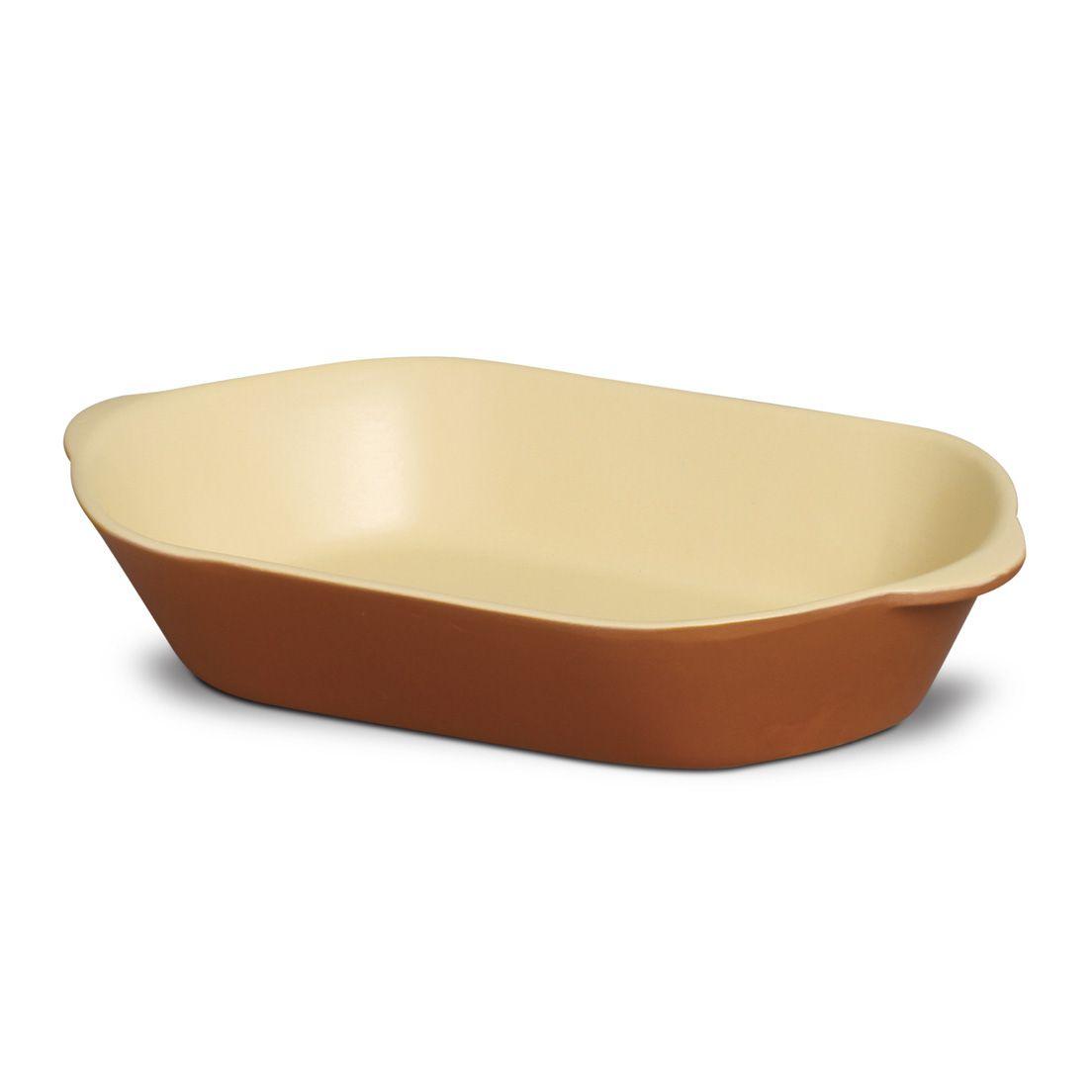 Forma Assadeira 3,2L para Micro-Ondas, Forno Convencional e Elétrico de Cerâmica Oval Marrom