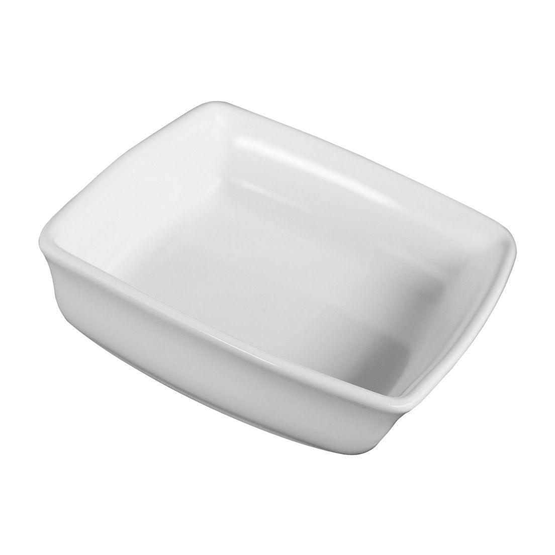 Forma Assadeira para Micro-Ondas, Forno Convencional e Elétrico de Cerâmica Quadrada Branca 17Cm