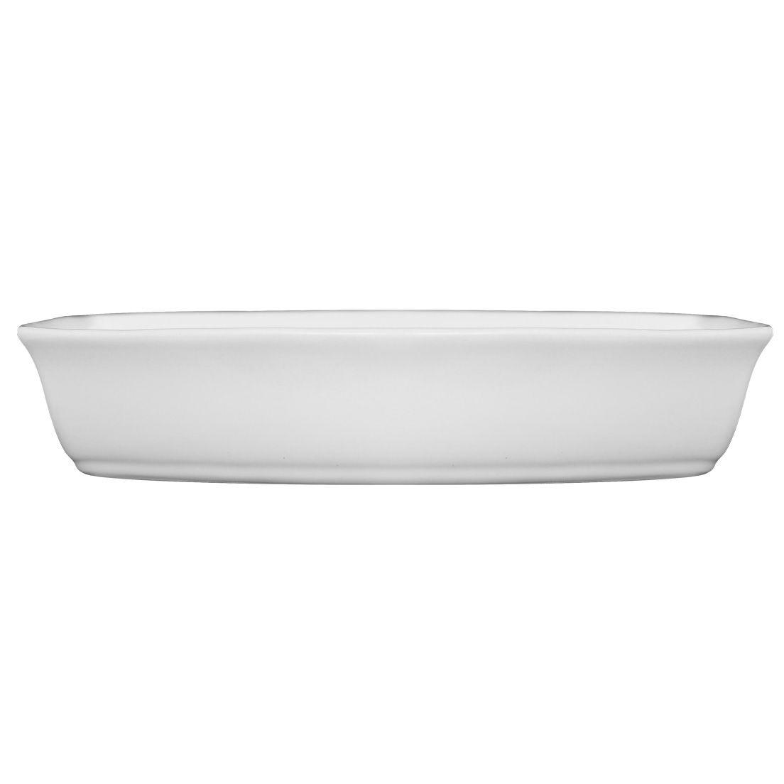 Forma Assadeira 31Cm para Micro-Ondas, Forno Convencional e Elétrico de Cerâmica Retangular Branca