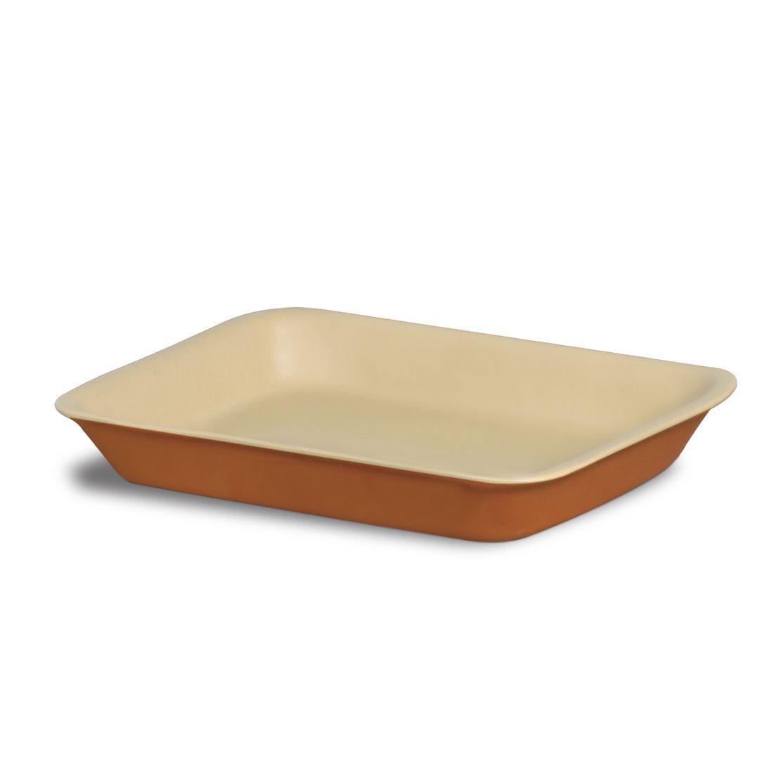 Forma Assadeira 350Ml para Micro-Ondas, Forno Convencional e Elétrico de Cerâmica Retangular Marrom