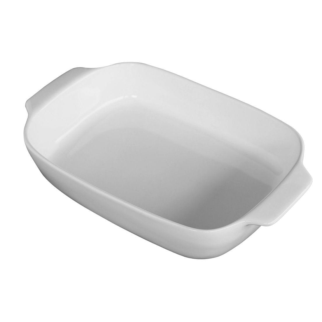 Forma Assadeira para Micro-Ondas, Forno Convencional e Elétrico de Cerâmica Retangular com Alça Branca 34Cm