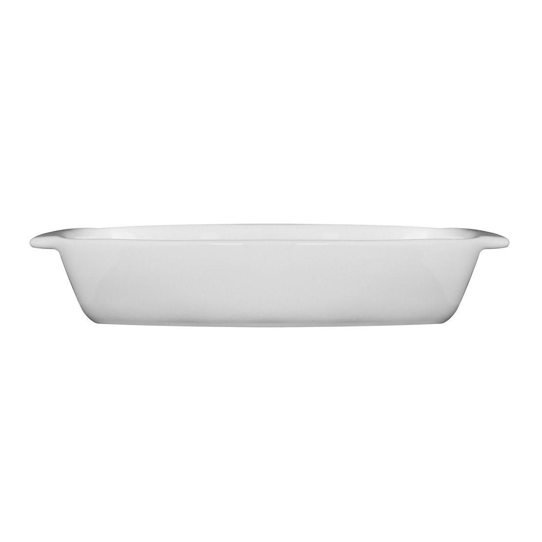 Assadeira La Faenza 34cm de Cerâmica para Micro-Ondas, Forno Convencional e Elétrico Retangular com Alça Branco