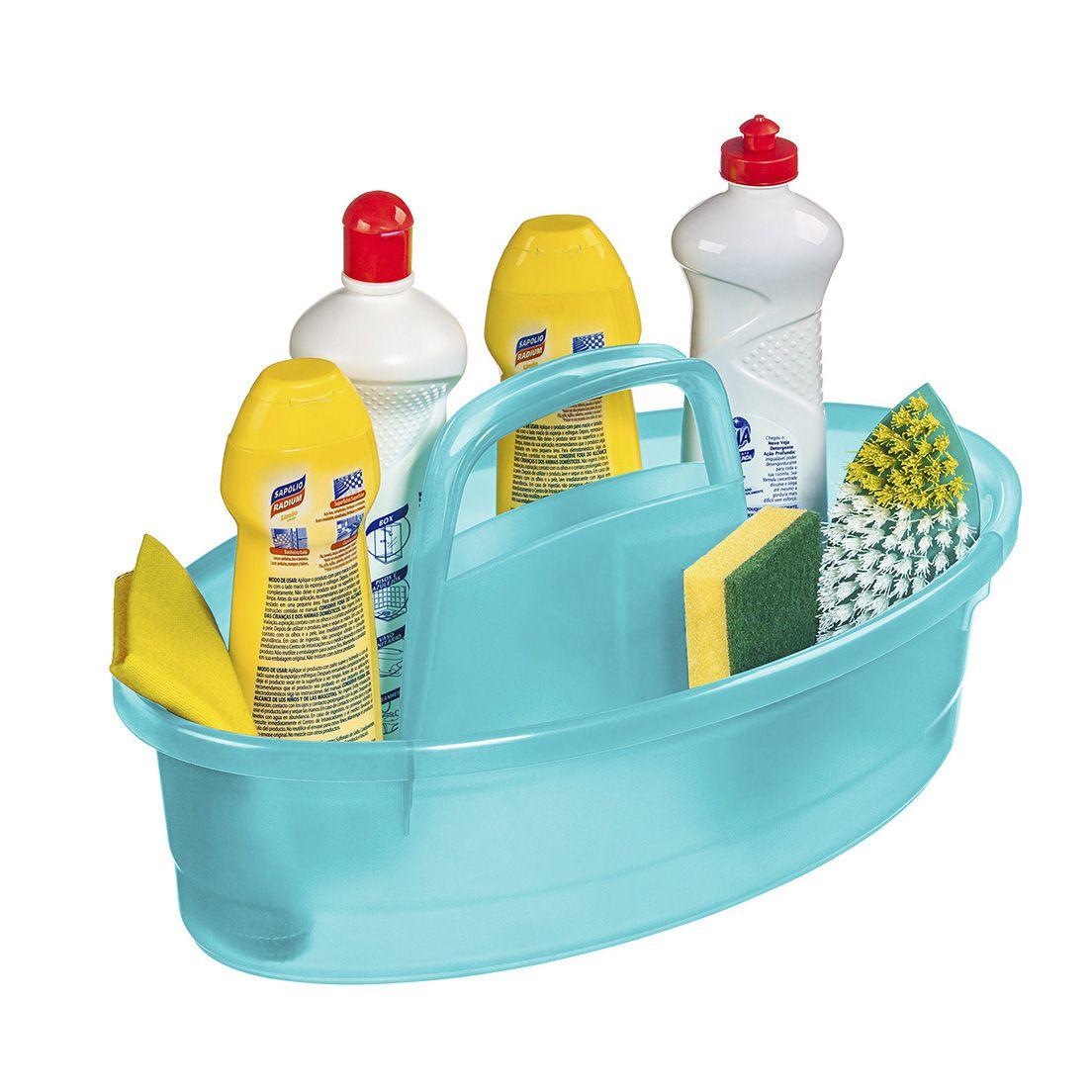 Balaio para Limpeza Oval Plástico Azul Tiffany Sanremo 6L