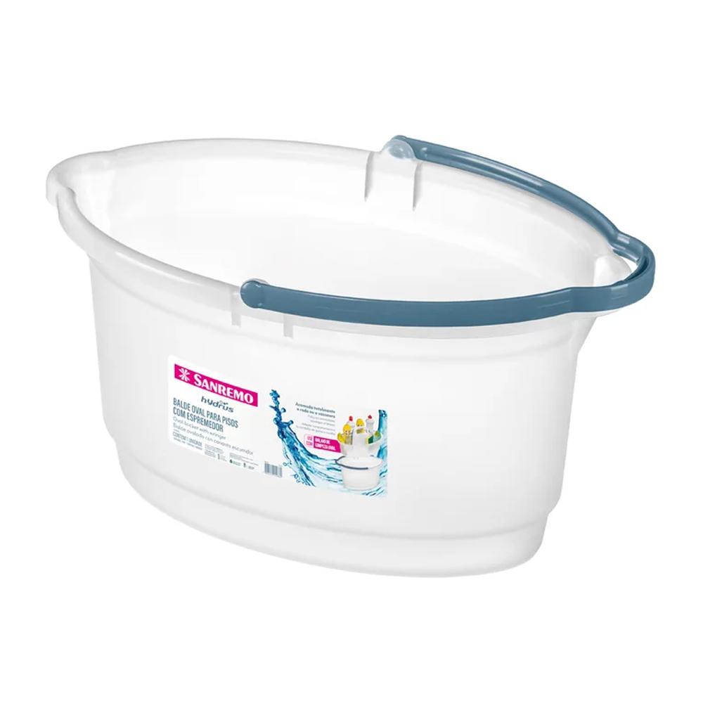 Balde para Limpeza Oval de Plástico 14L Cristal Sanremo