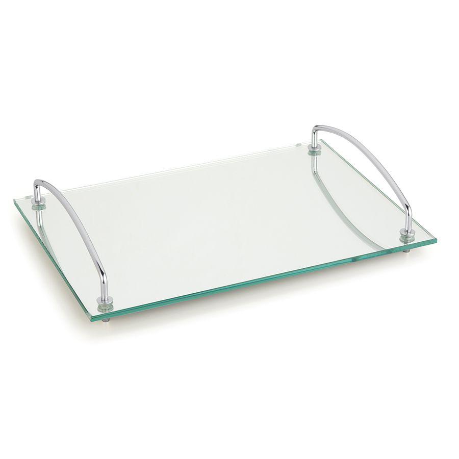 Bandeja para Servir de Vidro e Aço Espelhada Andrea 35 X 25Cm