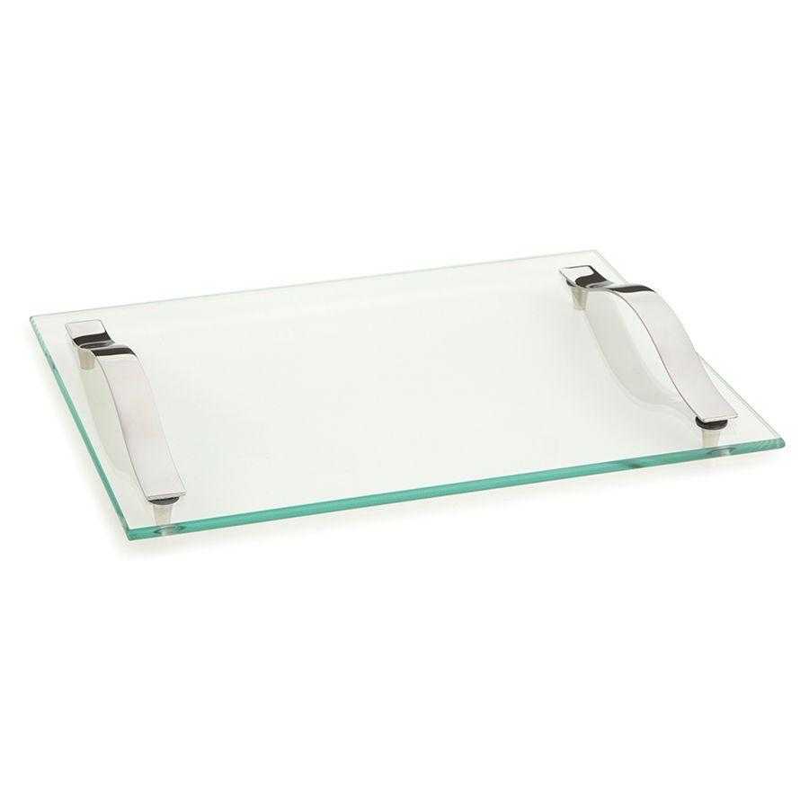 Bandeja para Servir de Vidro Transparente e Aço Andrea Slim 30 X 25Cm
