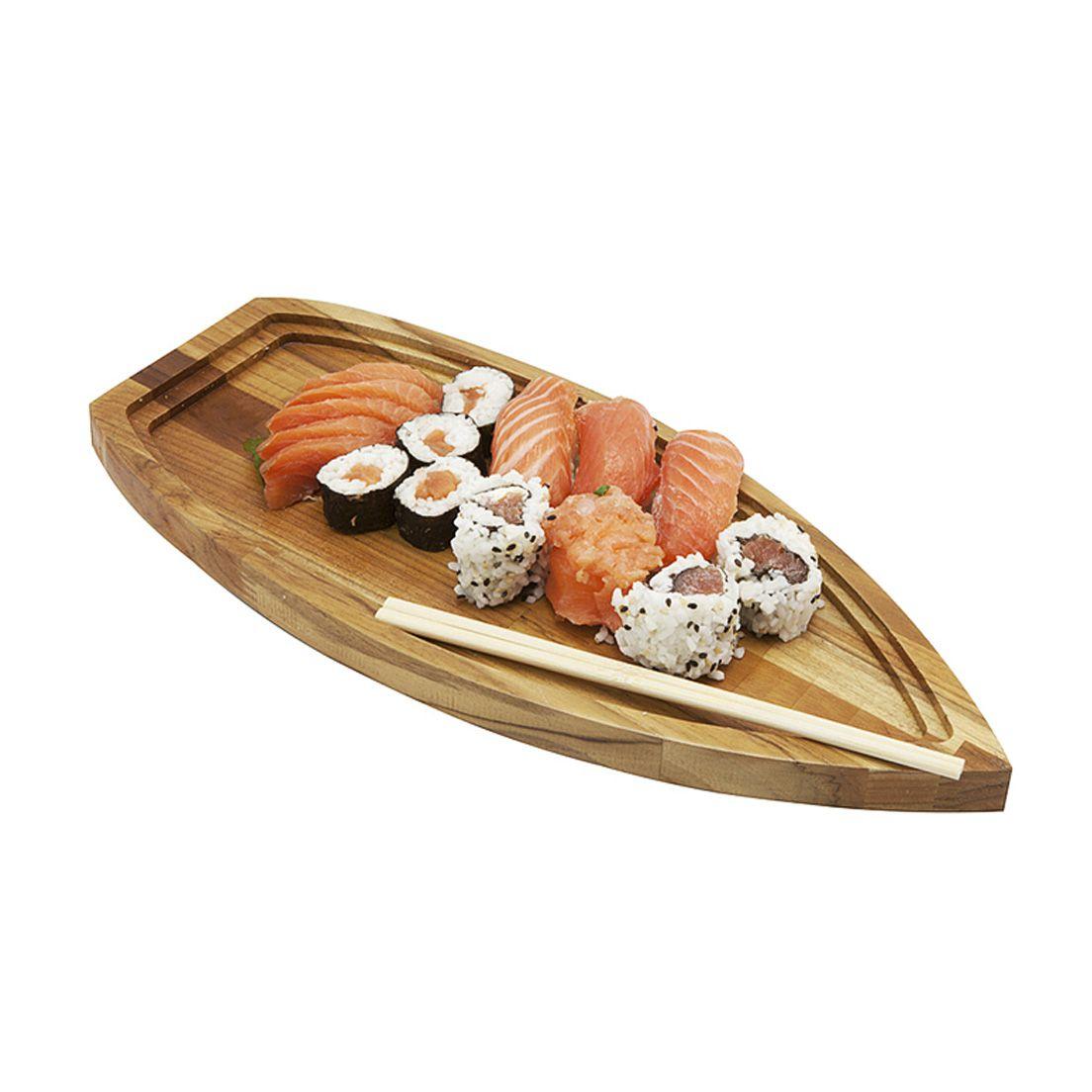 Barco Primewood para Sushi e Sashimi de Madeira teca