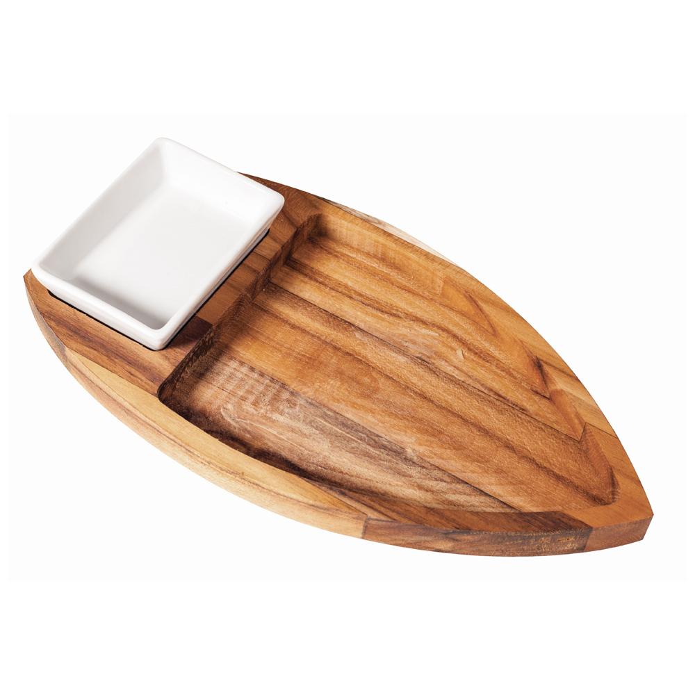 Barco para Sushi e Sashimi de Madeira Teca com Porta Molho de Cerâmica