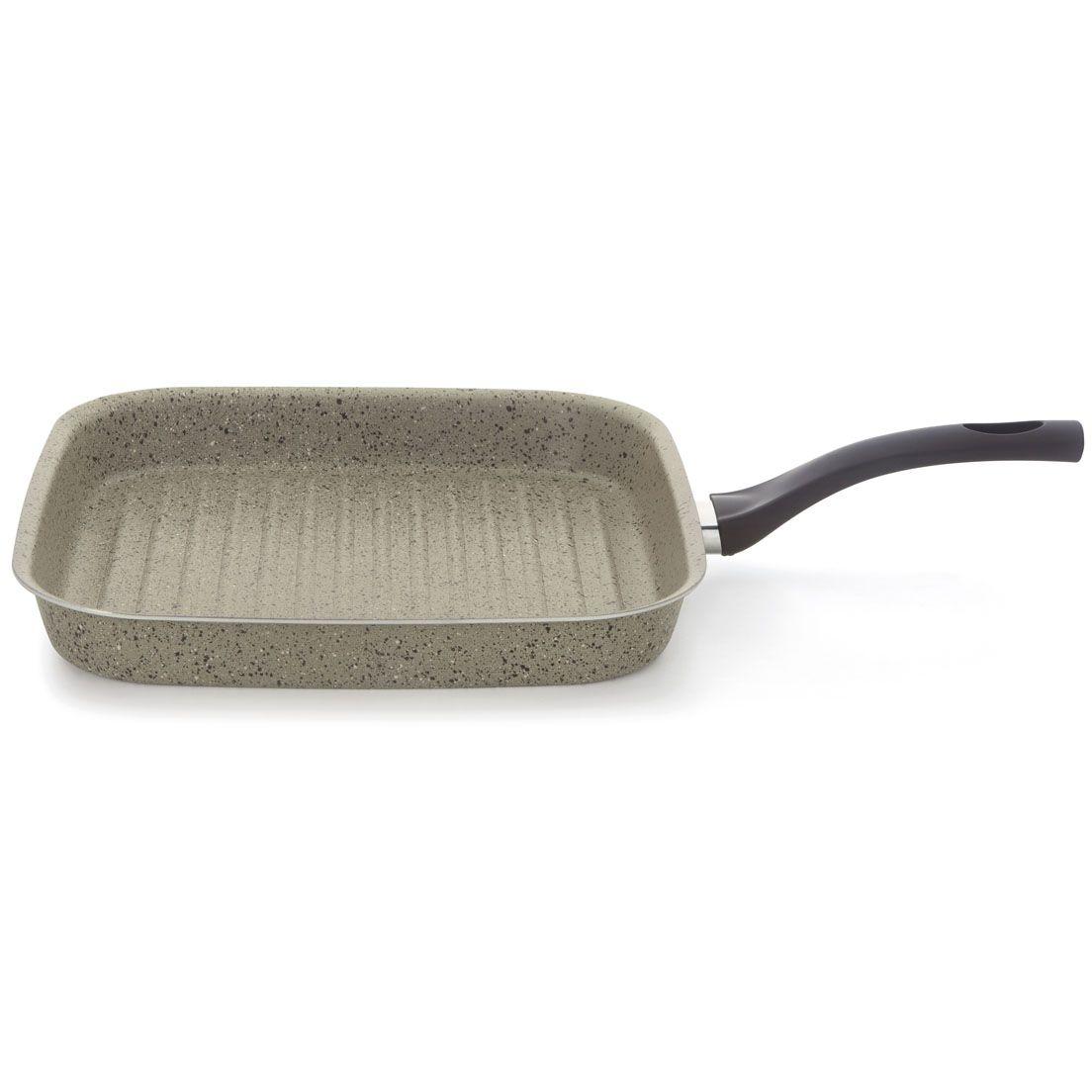 Frigideira 30Cm Bistequeira de Alumínio Canelada e Alça de Baquelite Quadrada Preta Mineral