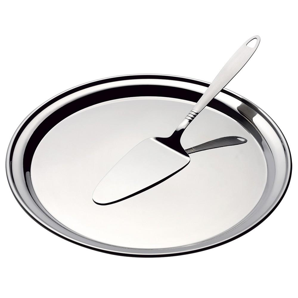 Boleira com Prato de Aço Inox e Espátula para Servir 30Cm - 2 Peças