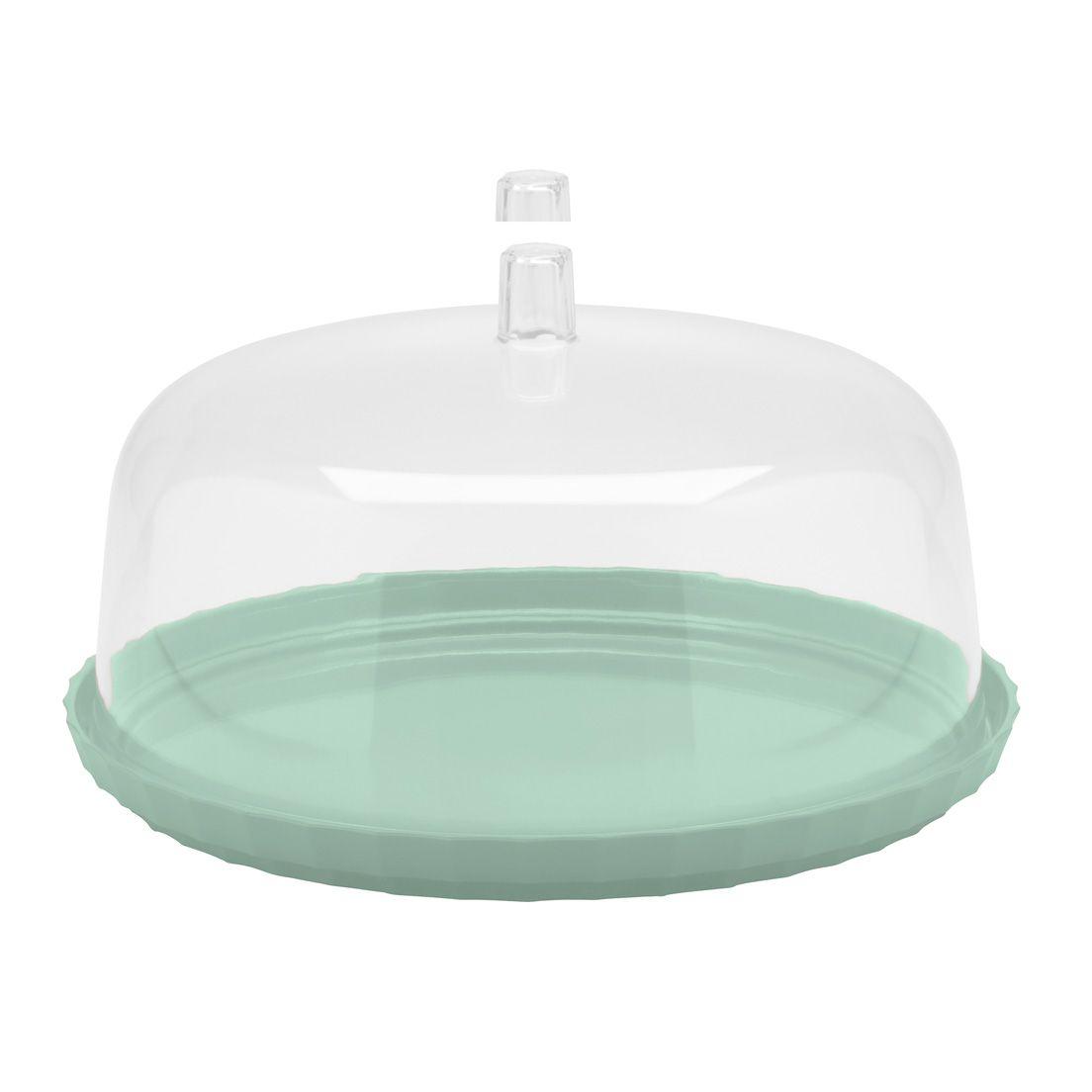 Boleira com Prato e Cúpula de Plástico Verde Menta 25Cm - 2 Peças