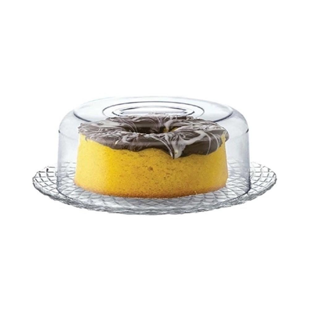 Boleira para Tortas e Petiscos com Prato de Vidro e Cúpula de Acrílico Ravena 32Cm - 2 Peças