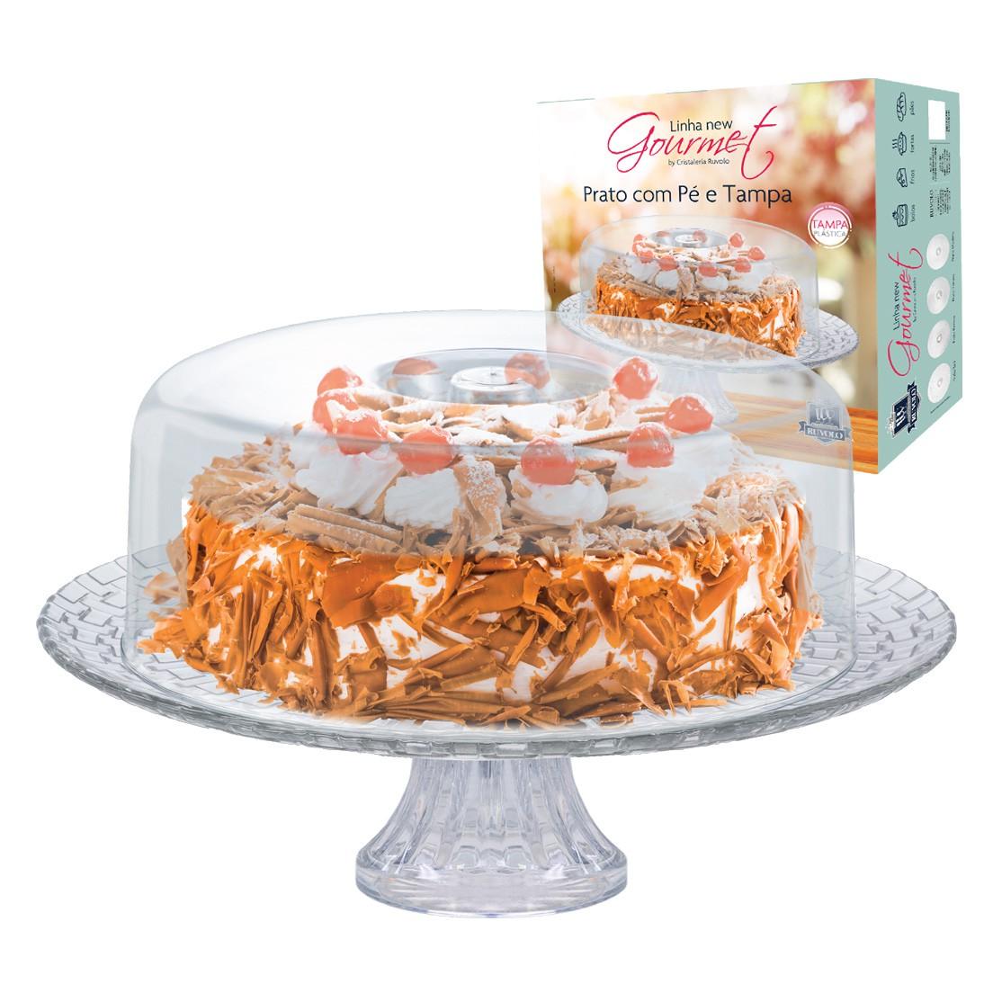 Boleira para Tortas e Petiscos com Prato e Pé de Vidro e Cúpula de Acrílico Gourmet 32Cm - 2 Peças