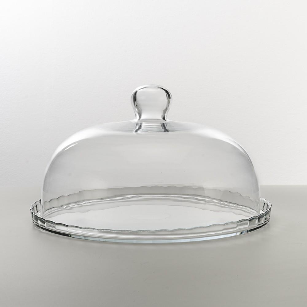 Boleira 29Cm para Servir ou Decorar de Vidro Cristalino com Cúpula Arredondada