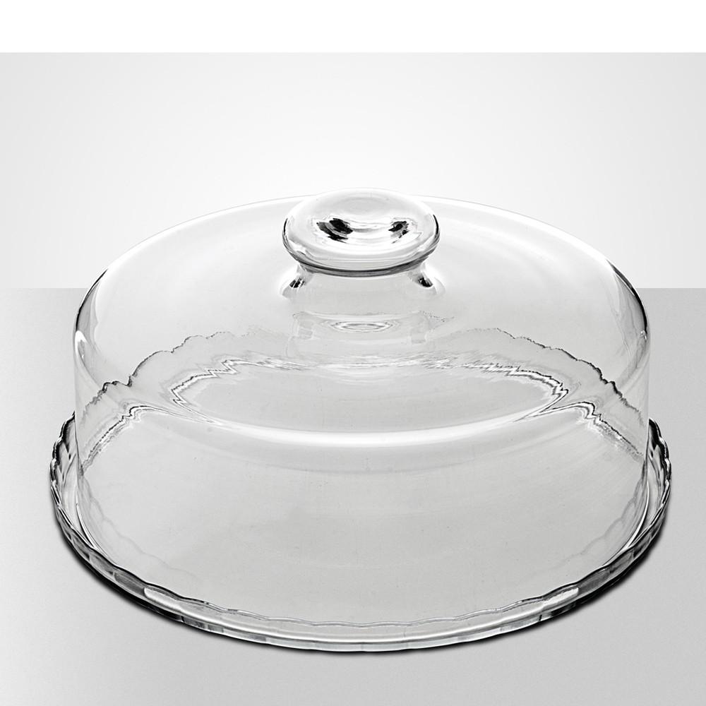 Boleira para Servir ou Decorar de Vidro Cristalino com Cúpula 29Cm - 2 Peças