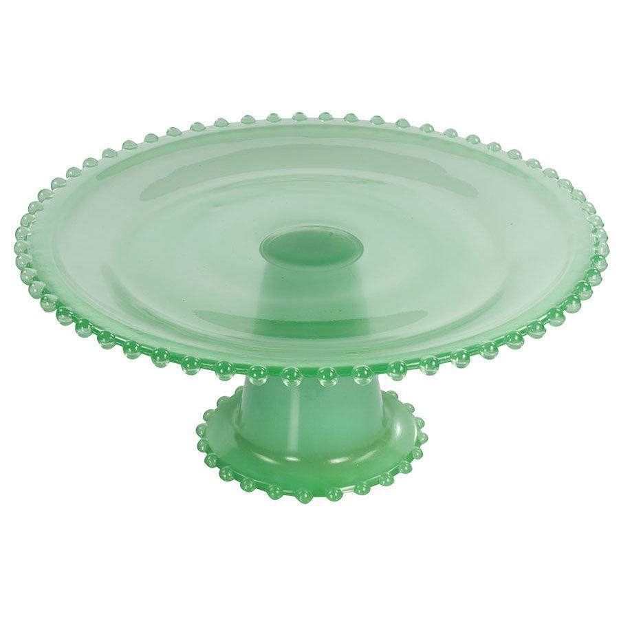 Boleira para Tortas e Doces Finos de Vidro Verde Wow 25Cm