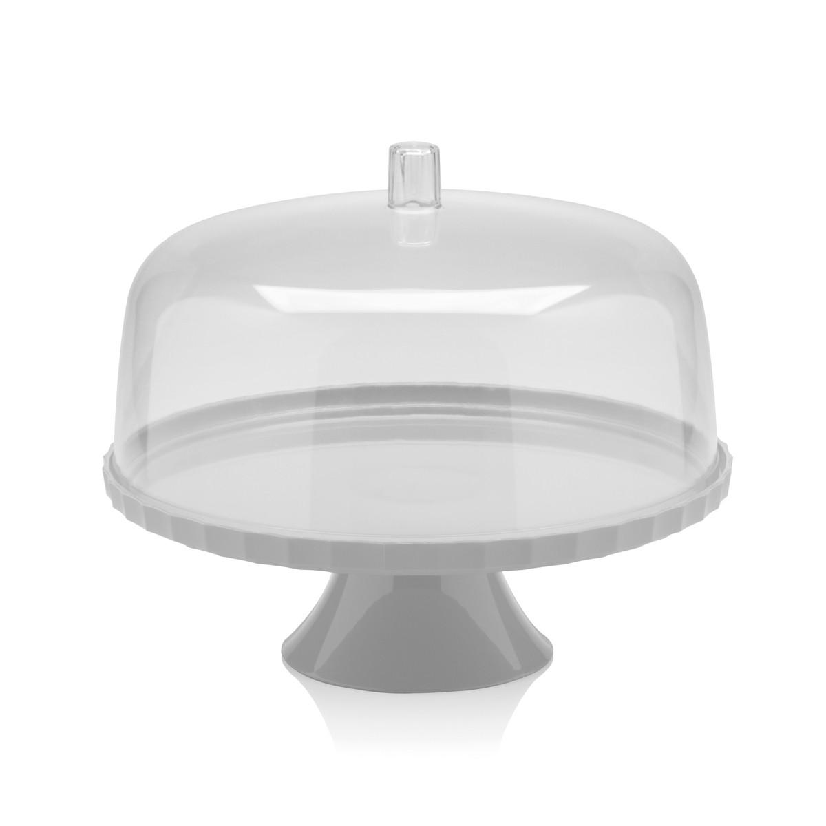 Boleira com Prato e Cúpula de Plástico com Pé Branco 30Cm - 2 Peças
