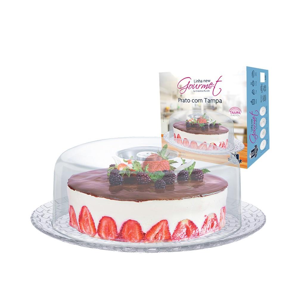 Boleira para Tortas e Petiscos com Prato de Vidro e Cúpula de Acrílico Bari 32Cm - 2 Peças