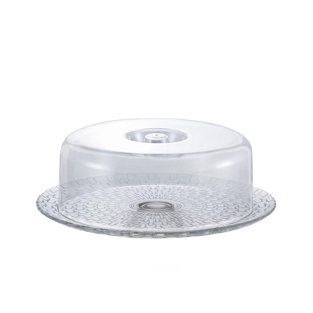 Boleira 32Cm para Tortas e Petiscos com Prato de Vidro e Cúpula de Acrílico Bari