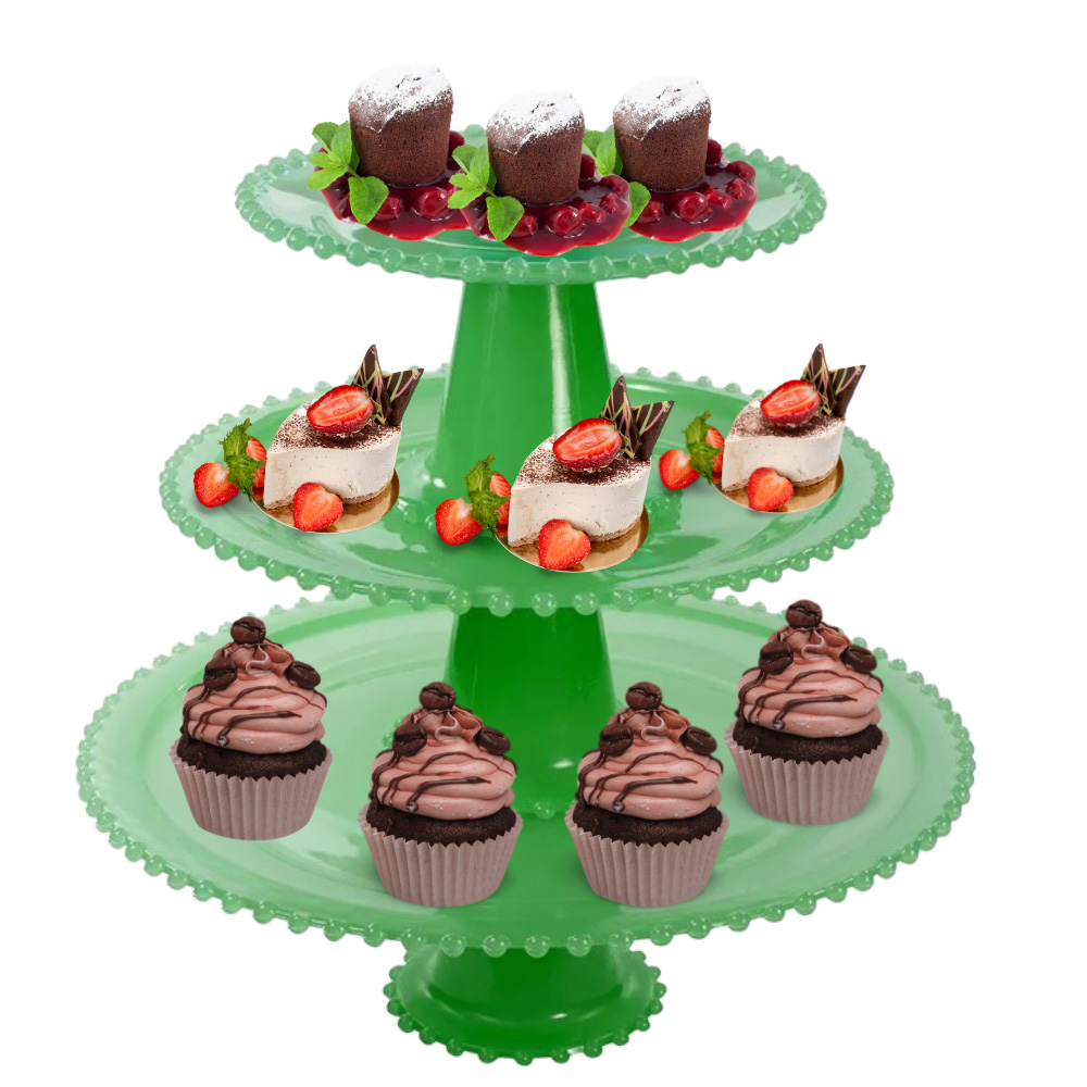 Boleira para Tortas e Doces Finos de Vidro 20Cm 25Cm e 32Cm Verde Wow