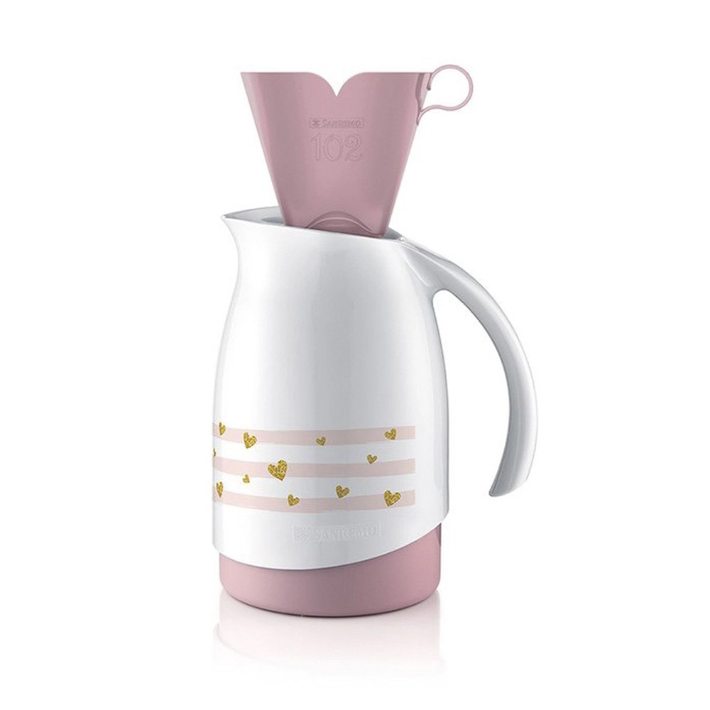 Bule Térmico 700Ml de Plástico com  Suporte para Filtro de Café 102 Branco