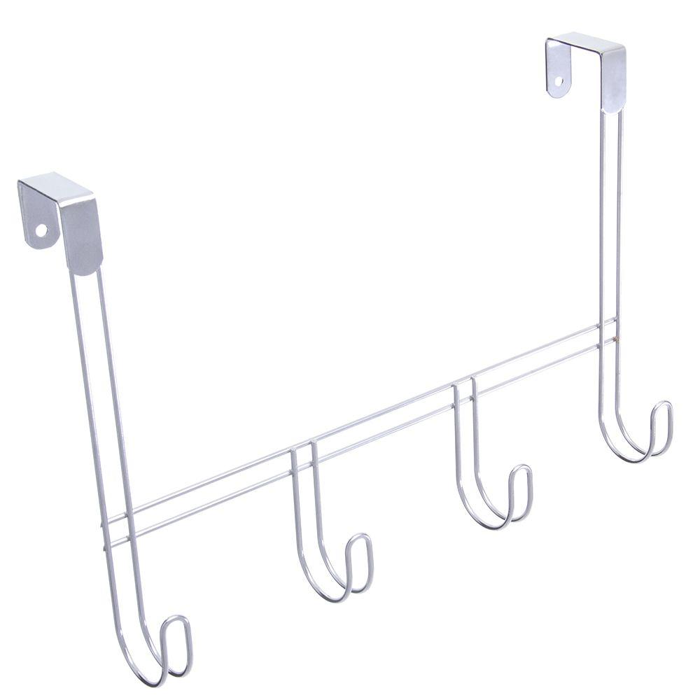 Cabide Pendura Porta ou Parede para Roupas de Aço Cromado com 4 Ganchos